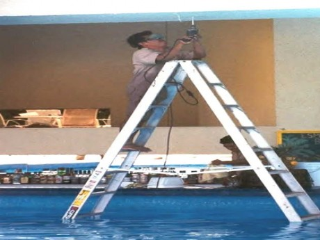 Aluminum Ladder, Water and Electricity. Ouch